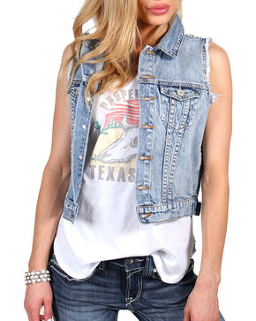 Shyanne® Women's Denim Vest, Blue, hi-res
