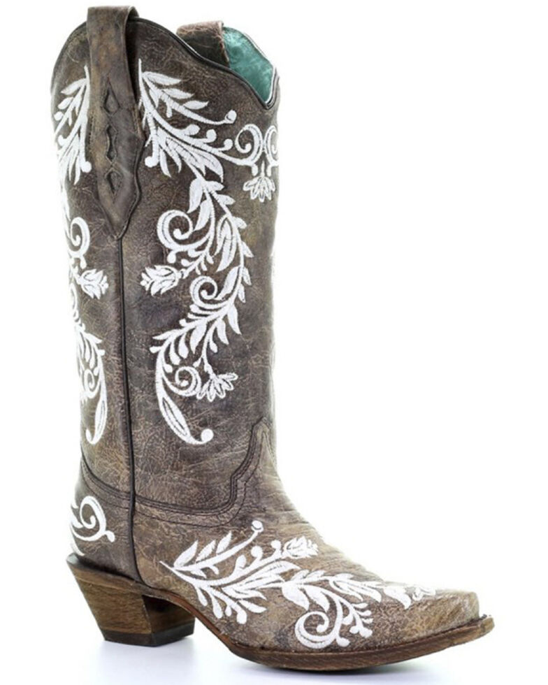 Corral Women's Glow White Embroidered Western Boots  - Snip Toe, Brown, hi-res
