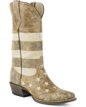Roper Men's Brown Vintage American Flag Western Boots - Wide Square Toe , Brown, hi-res