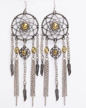 Shyanne Women's 2-Tone Dreamcatcher Earrings, Silver, hi-res