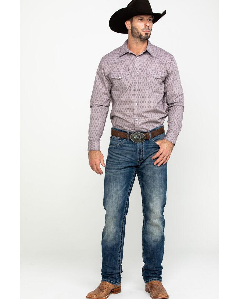 Gibson Men's Elderwood Geo Print Long Sleeve Western Shirt , Maroon, hi-res