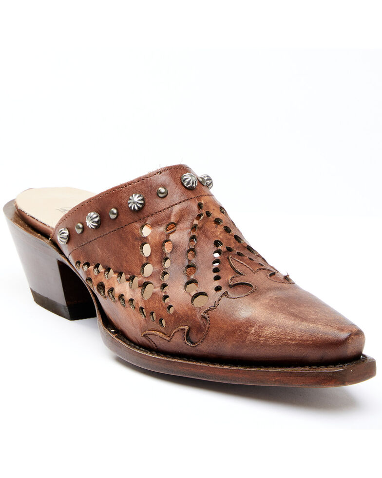 Dan Post Women's Brown Inlay Mules - Snip Toe, Brown, hi-res
