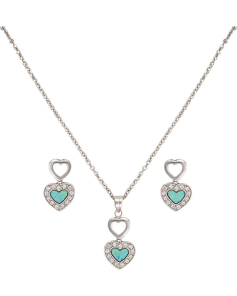 Montana Silversmiths Women's Double Heart Opal Jewelry Set, Silver, hi-res