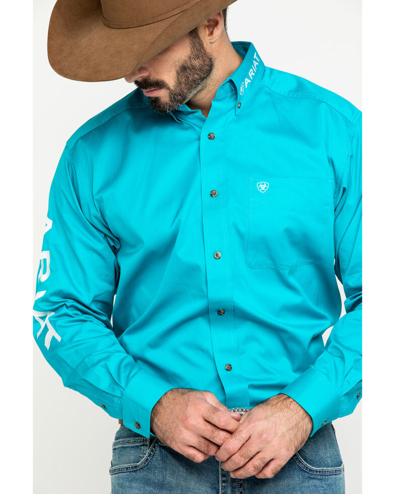 Ariat Men's Blue Team Logo Twill Long Sleeve Western Shirt - Tall , , hi-res