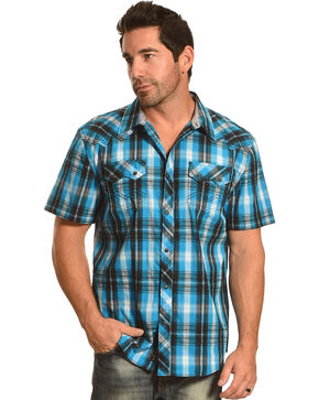 Moonshine Spirit® Men's Plaid Short Sleeve Shirt , Turquoise, hi-res