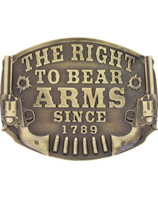 Montanan Silversmiths Bronze Right To Bear Arms Belt Buckle , Silver, hi-res