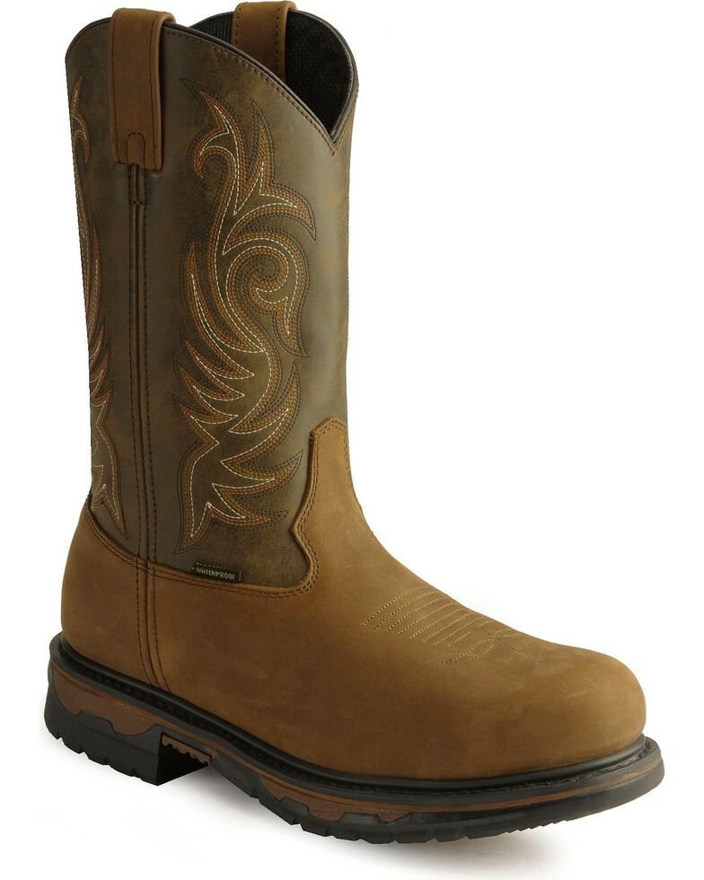 Laredo Men's Brazos Steel Toe Work Boots, Tan Distressed, hi-res