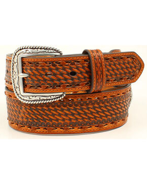 Ariat Men's Genuine Leather Embossed Basketweave Belt, Tan, hi-res