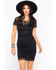 0bf8f108d09f Panhandle Women's Solid All Over Stretch Lace Short Sleeve Dress