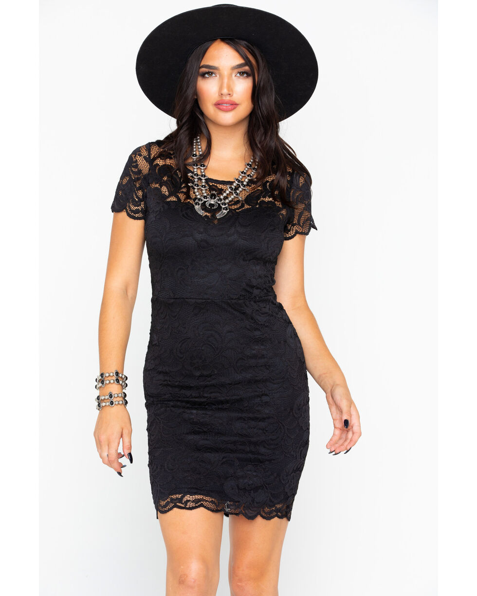 Panhandle Women's Solid All Over Stretch Lace Short Sleeve Dress , Black, hi-res