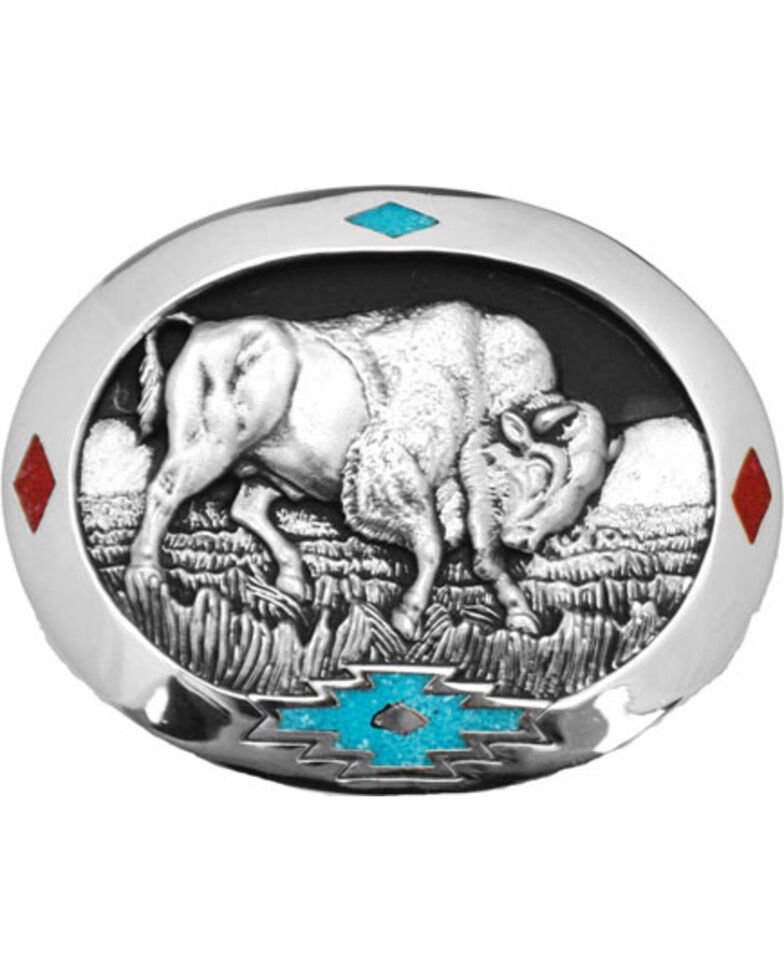 Western Express Men's Silver Bull Belt Buckle , Silver, hi-res