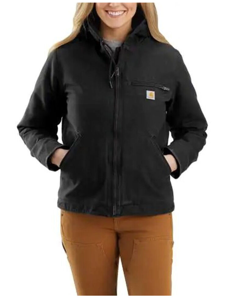 Carhartt Women's Black Washed Duck Sherpa-Lined Jacket , Black, hi-res