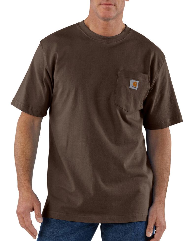 Carhartt Men's Solid Short Sleeve Pocket Work T-Shirt - Big & Tall, Dark Brown, hi-res