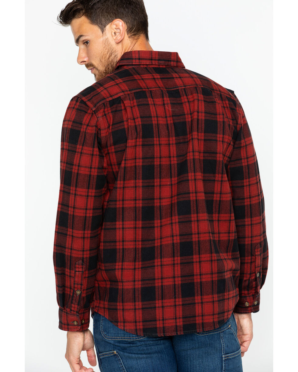 Carhartt Men's Hubbard Long Sleeve Plaid Flannel Work Shirt , Dark Red, hi-res