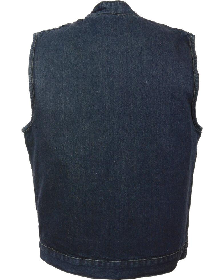 Milwaukee Leather Men's Snap Front Denim Club Style Vest w/ Gun Pocket, Blue, hi-res