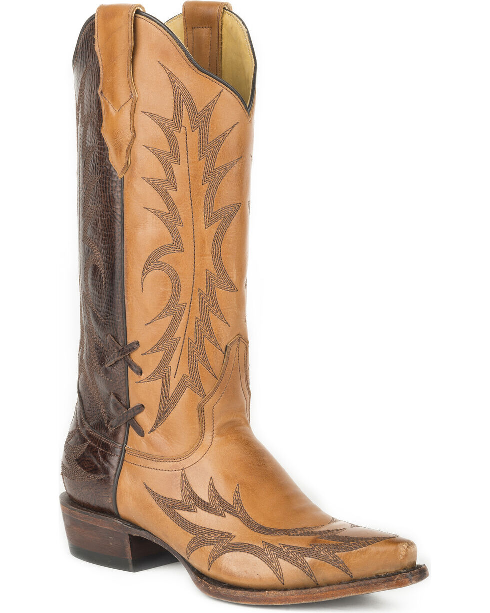 Stetson Women's Quinn Two Tone Western Boots - Snip Toe, Brown, hi-res