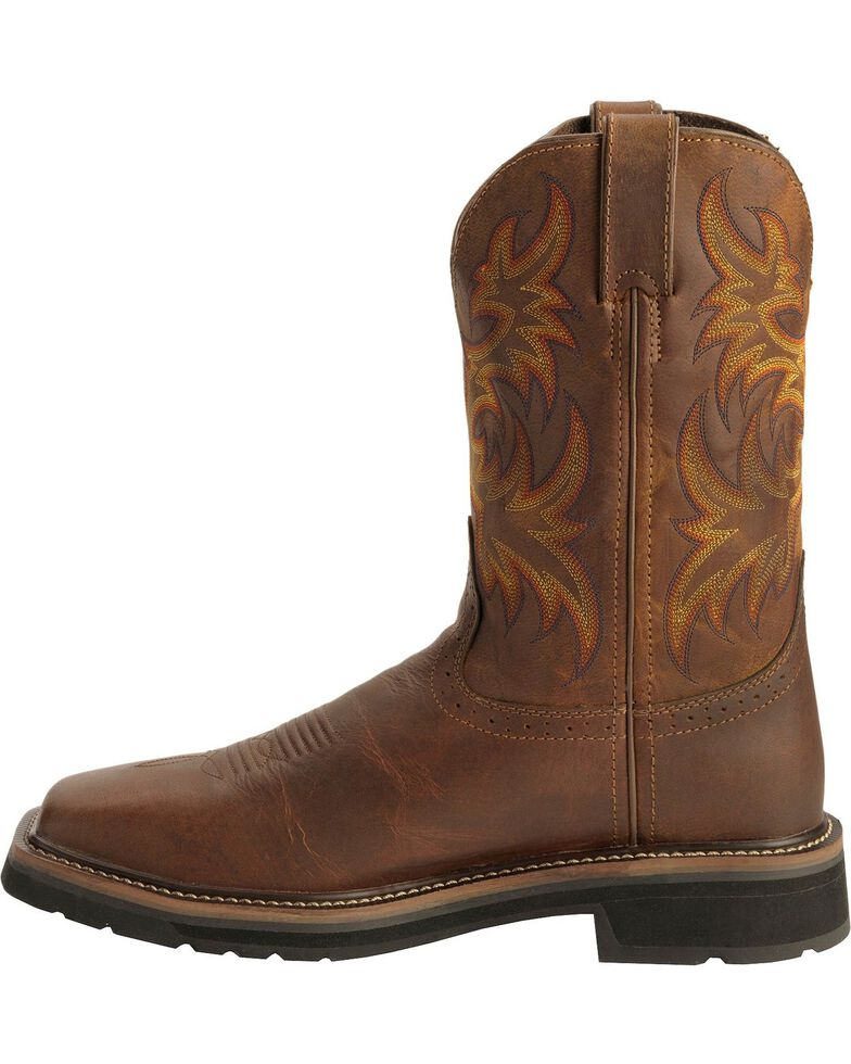 "Justin Men's 11"" Rugged Steel Toe Western Work Boots, Tan, hi-res"