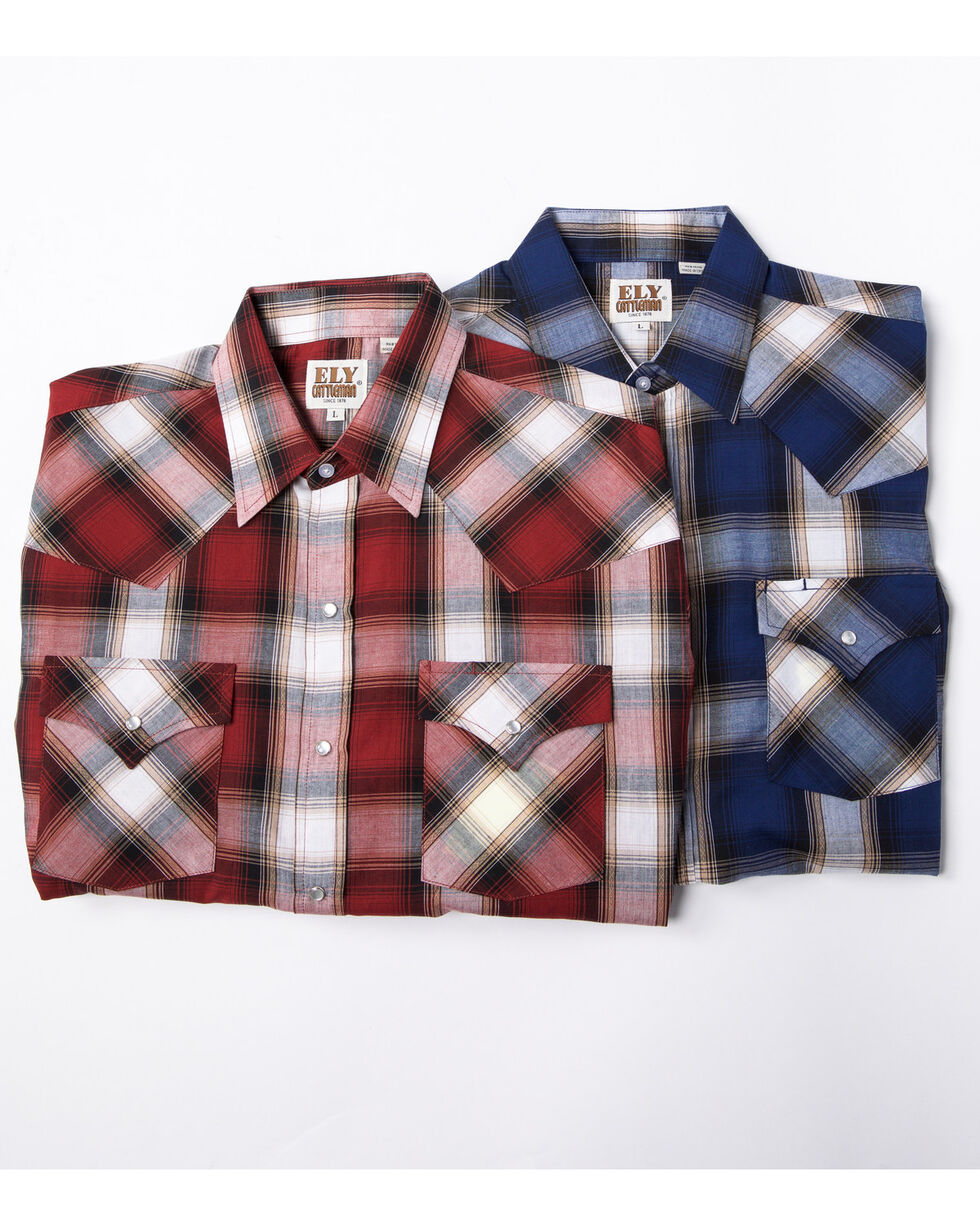 Ely Cattleman Assorted Men's Textured Plaid Long Sleeve Western Shirt - Tall , Multi, hi-res