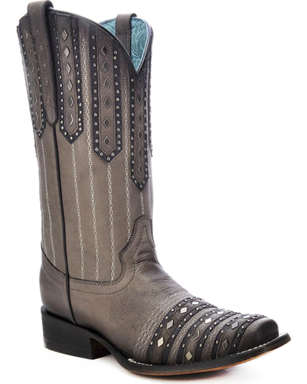 Corral Women's Studded Patch Square Toe Western Boots, Black, hi-res