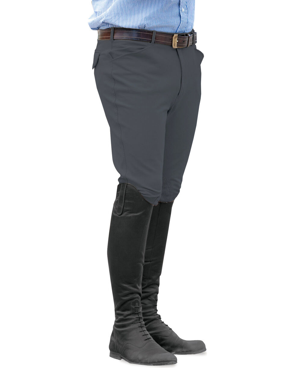 Ovation Men's Euroweave Knee Patch Breeches, Charcoal Grey, hi-res
