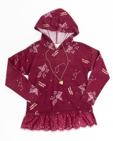 Shyanne Girls' Floral Long Sleeve Hoodie Top & Necklace Set, Burgundy, hi-res