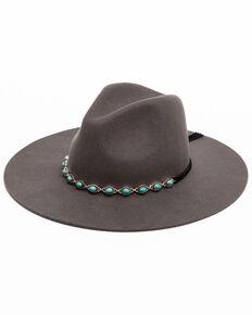 Shyanne Women's Turquoise Trim Hatband Western Felt Fedora Hat  , Grey, hi-res