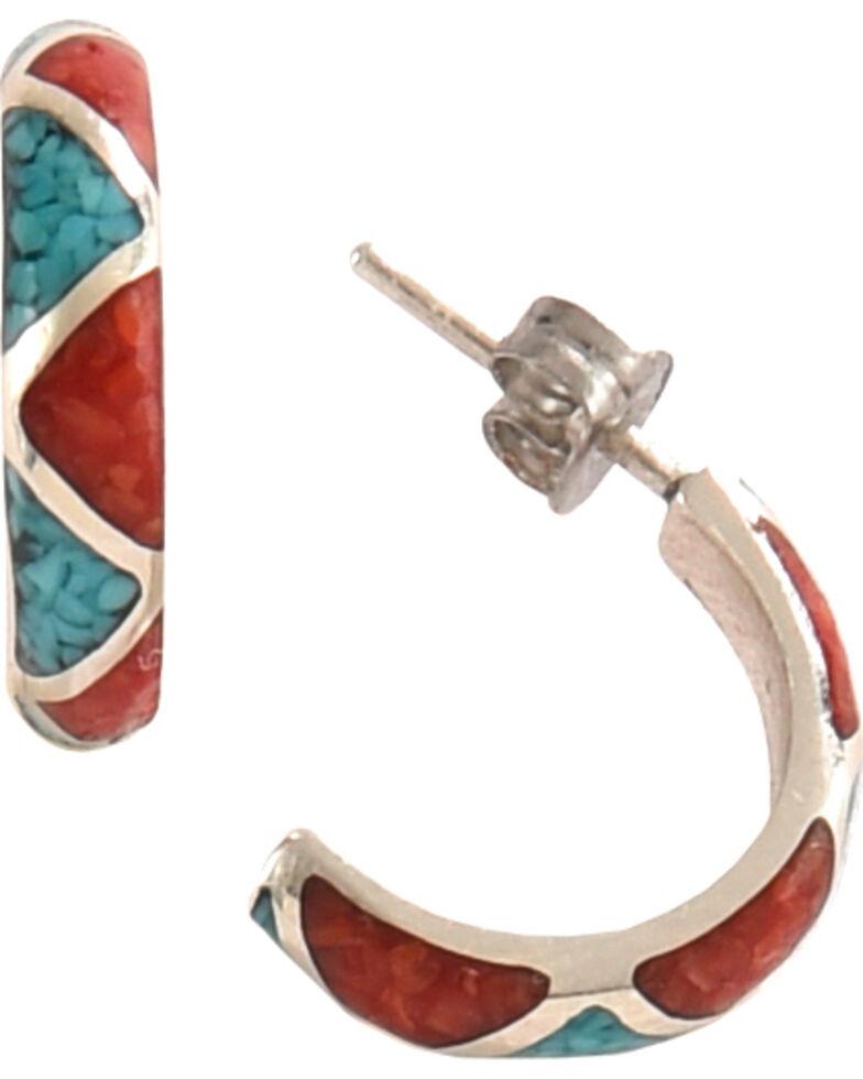 Silver Legends Women's Half Hoop Post Earrings , Turquoise, hi-res