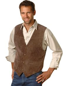 Scully Men's Boar Suede Snap Front Vest, Espresso, hi-res