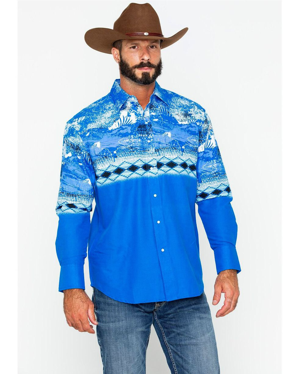 Wrangler Men's Checotah Blue Border Long Sleeve Western Snap Shirt, Blue, hi-res