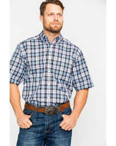 Ariat Men's Farnsworth Plaid Short Sleeve Western Shirt , White, hi-res