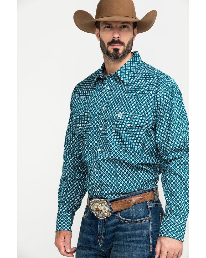 Cinch Men's Teal Aztec Geo Print Long Sleeve Western Shirt , Teal, hi-res