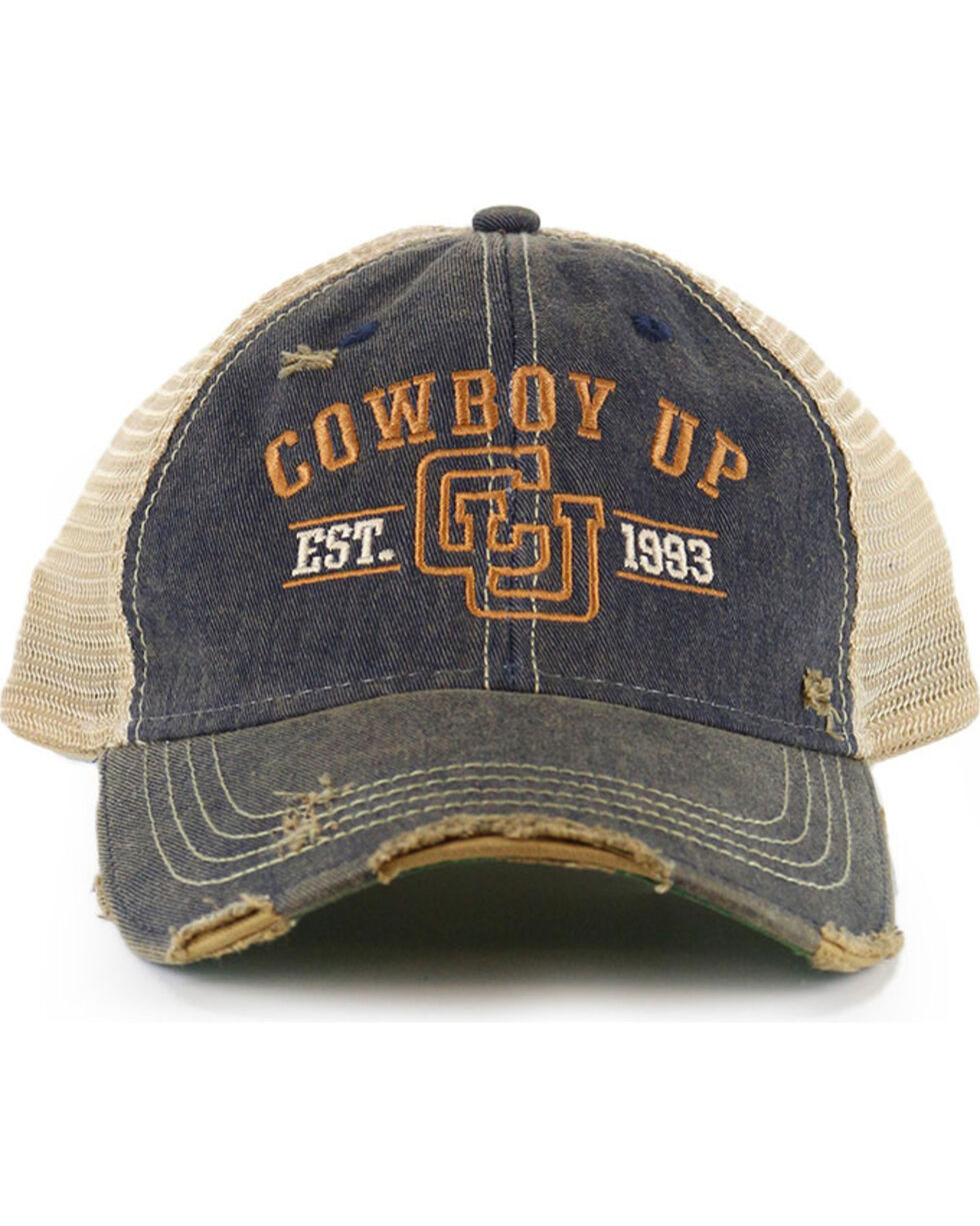 Cowboy Up Distressed Vintage Trucker Ball Cap, Chocolate, hi-res