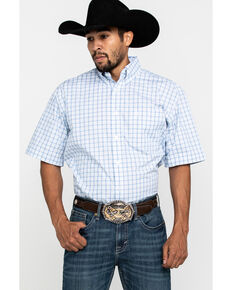 George Strait By Wrangler Men's Blue Plaid Short Sleeve Western Shirt - Tall , Blue, hi-res