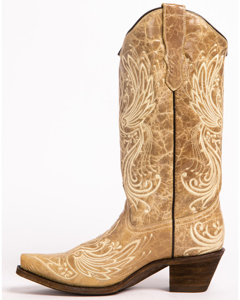 Corral Women's All Over Embroidered Western Boots, Bone, hi-res