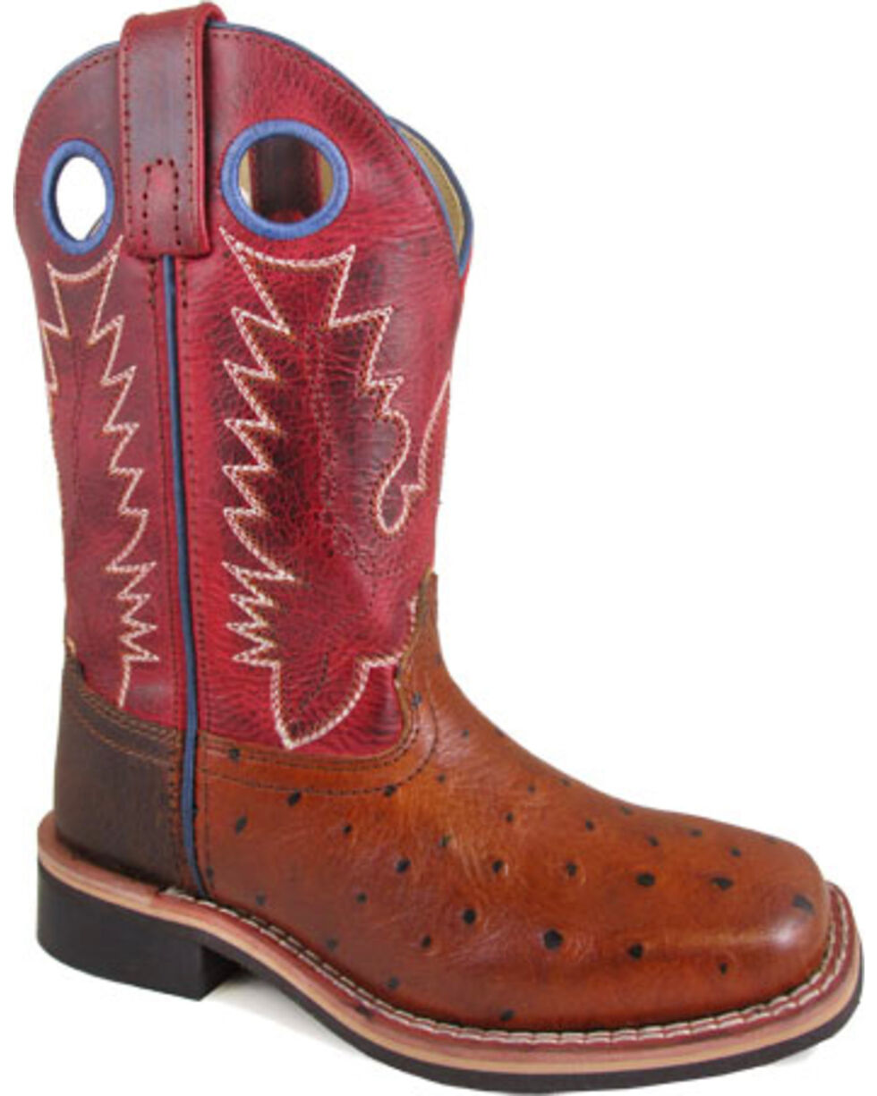 Smoky Mountain Youth Boys' Ostrich Print Western Boots - Square Toe , Cognac, hi-res
