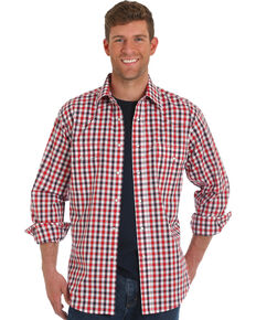Wrangler Men's Red Plaid Wrinkle Resistant Long Sleeve Western Shirt , Red, hi-res