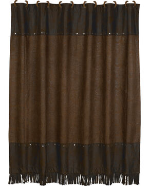 HiEnd Accents Caldwell Faux Tooled Leather Shower Curtain, Multi, hi-res