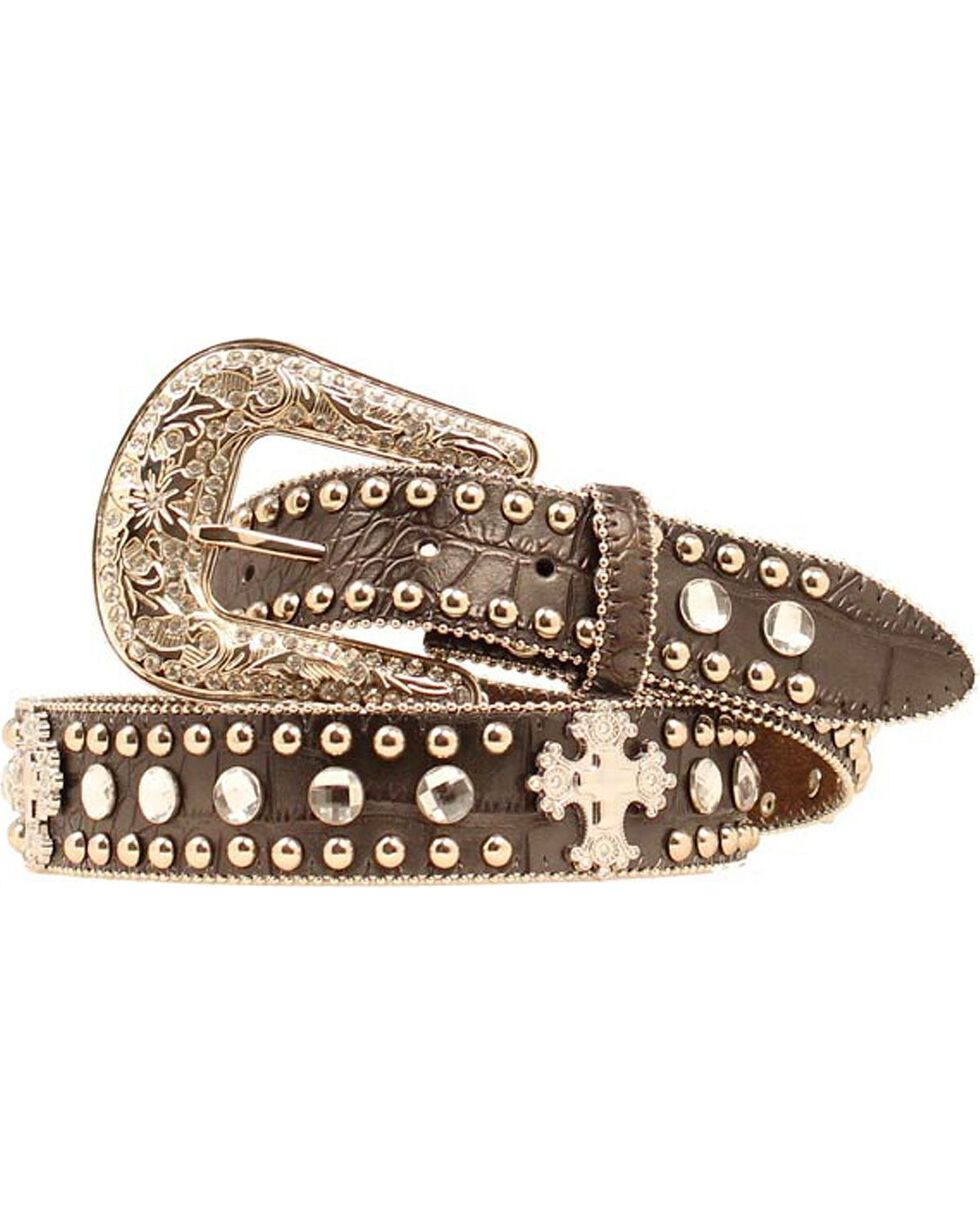 Blazin Roxx Faux Leather Croc Print Studded Cross Belt, Black, hi-res