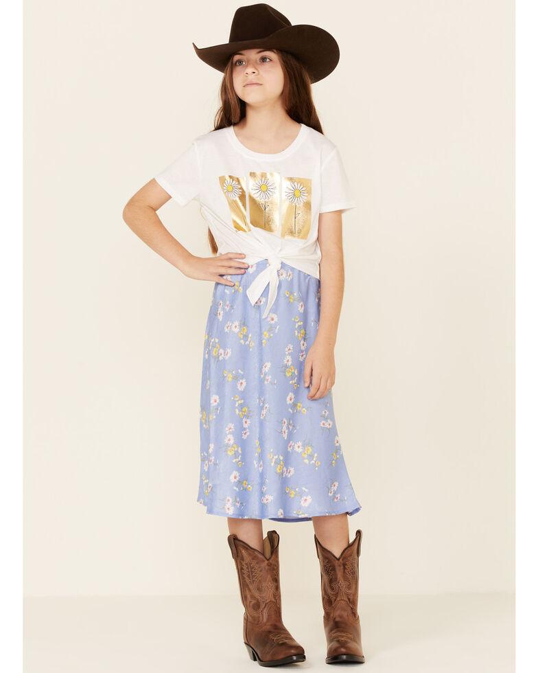 Self Esteem Girls' White Daisy Gold Foil & Blue Graphic Short Sleeve Tee & Skirt Set , White, hi-res