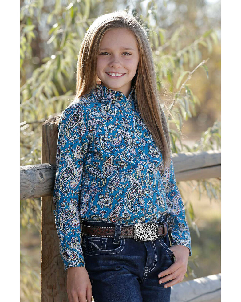 Cruel Girl Girls' Blue Paisley Print Long Sleeve Western Shirt, Blue, hi-res