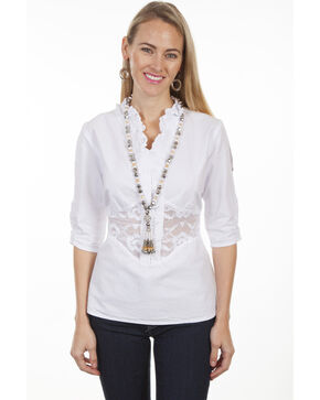 Cantina by Scully Women's White Lace Peek-A-Boo Blouse, White, hi-res