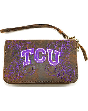 Gameday Boots Texas Christian University Leather Wristlet, Brass, hi-res