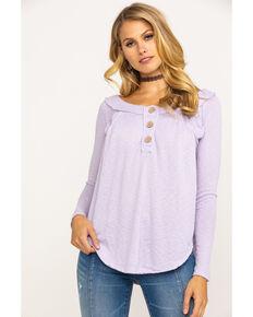 Free People Women's Must Have Henley Top, Light Purple, hi-res