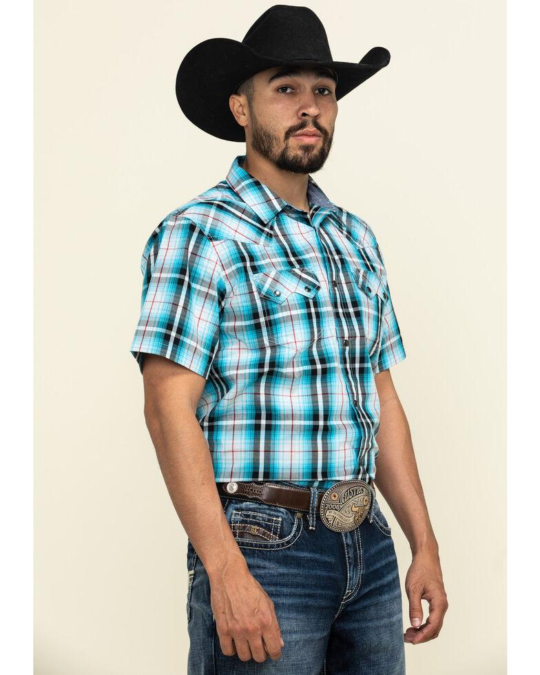 Cody James Men's Firefly Large Plaid Short Sleeve Western Shirt - Big , Blue, hi-res
