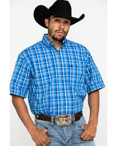 George Strait By Wrangler Blue Poplin Plaid Short Sleeve Western Shirt , Blue, hi-res
