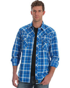 dd22e263287 Rock 47 by Wrangler Men s Blue Plaid Long Sleeves Western Shirt