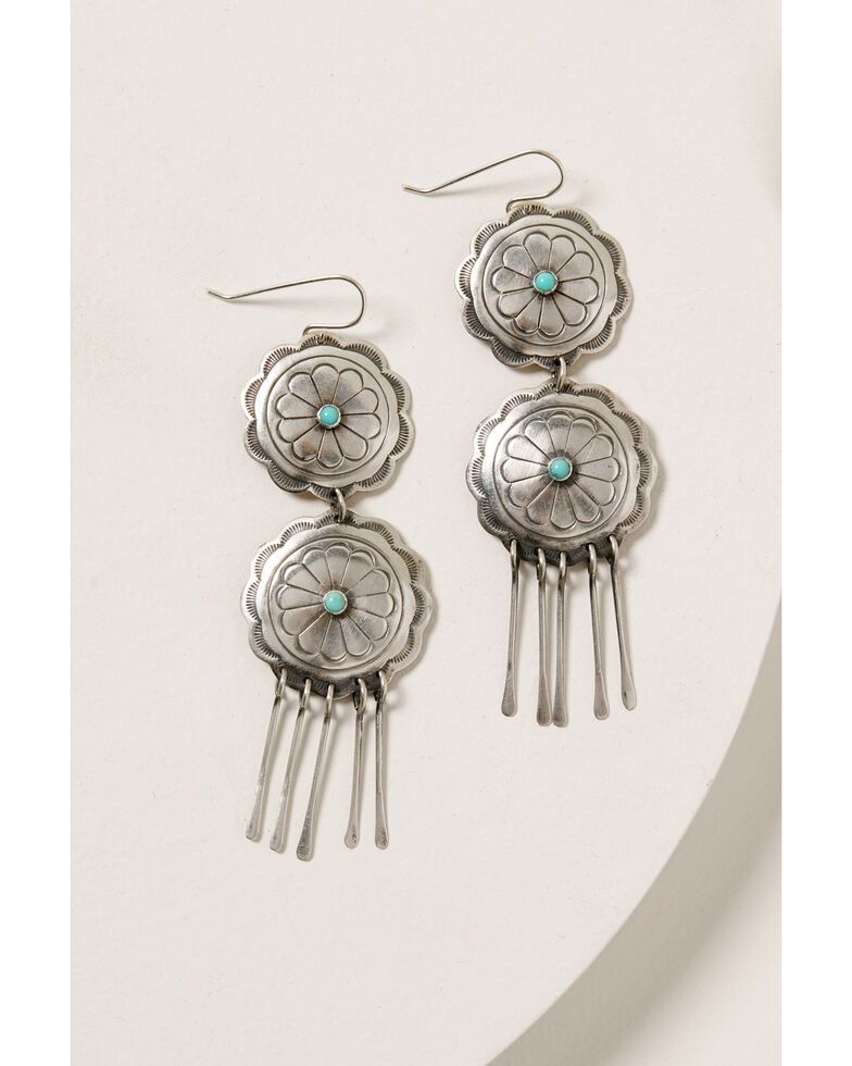 Double D Ranch Women's Turquoise Wheel Earrings, Silver, hi-res