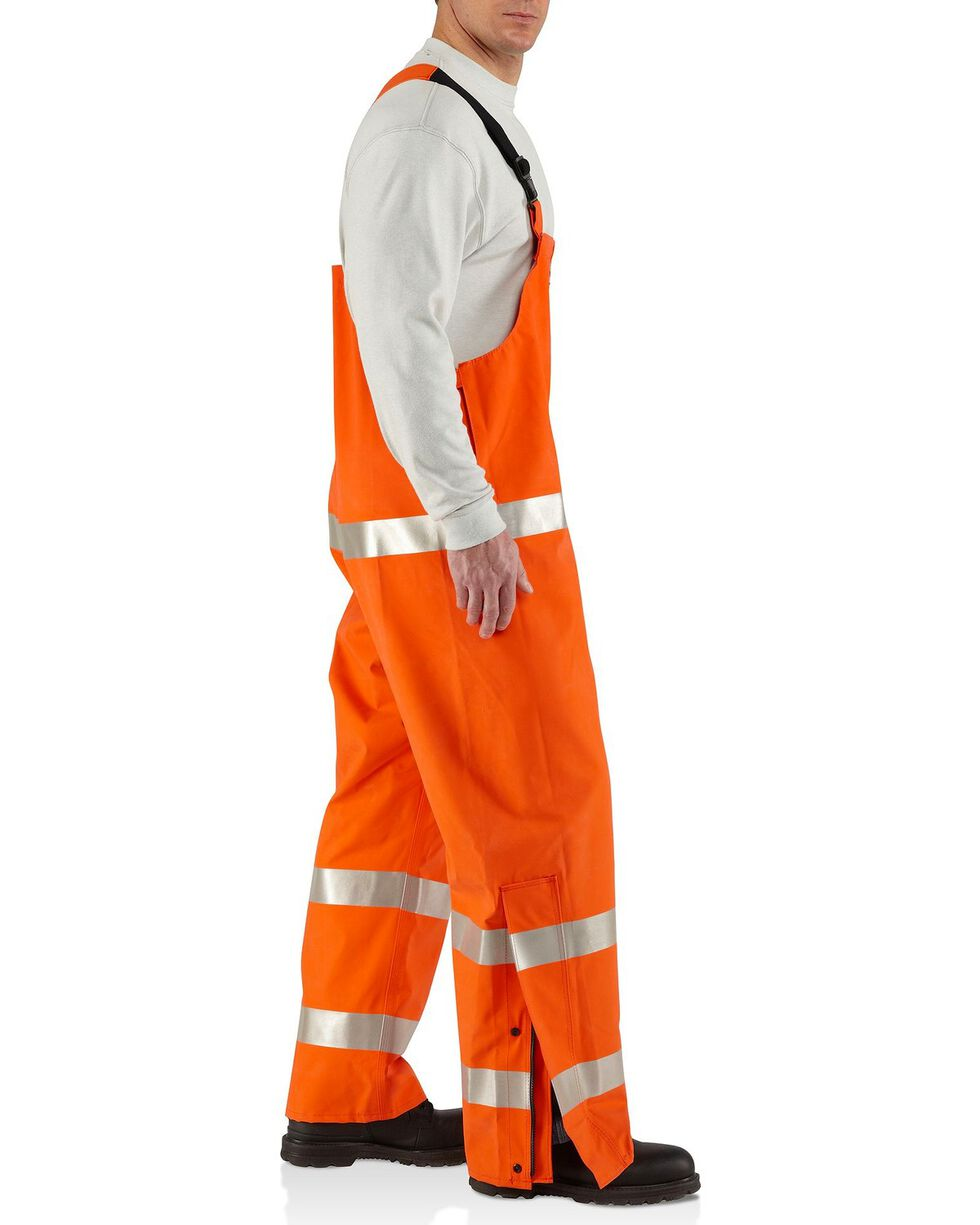 Carhartt Men's Flame Resistant Rainwear Bib Overalls, Orange, hi-res