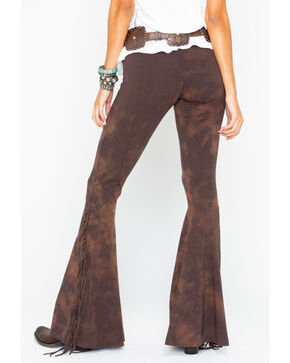 Rock & Roll Cowgirl Women's Fringe Bell Bottoms, Brown, hi-res