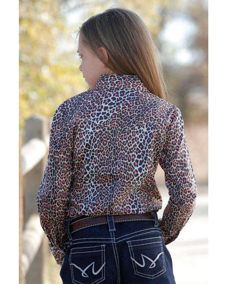 Cruel Girl Girls' Beige Leopard Print Long Sleeve Western Shirt, Beige/khaki, hi-res